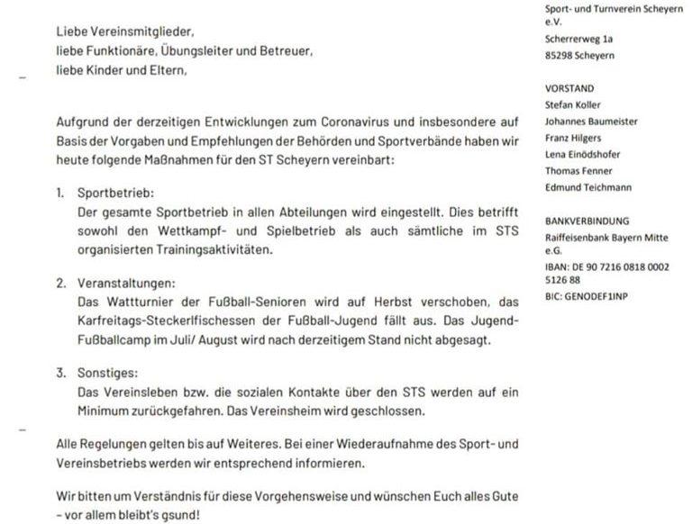 Mitteilung des ST Scheyern
